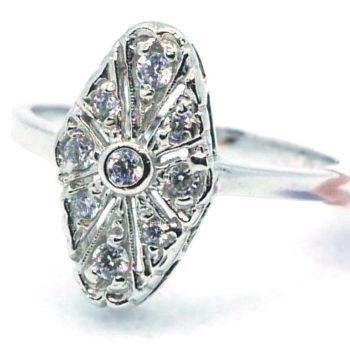 Prsten z bílého zlata ART-DECO