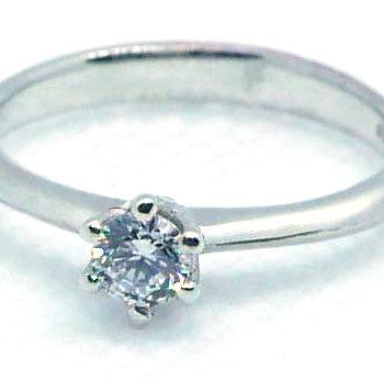 Zásnubní prsten z bílého zlata a zirkonem