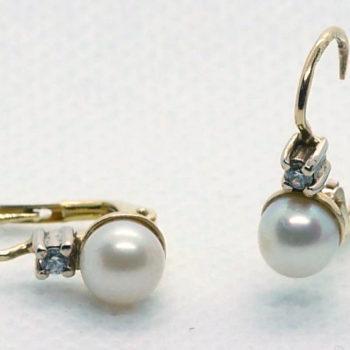 Náušnice z perlou a zirkonem